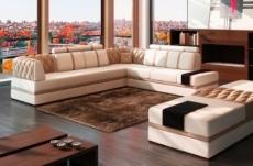 canapé d'angle en cuir italien 6/7 places riva, blanc et beige