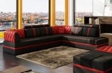 canapé d'angle en cuir italien 6/7 places riva, noir et rouge