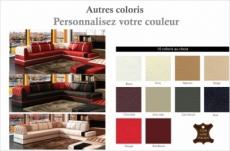 canapé d'angle en cuir italien 6/7 places riva, couleur personnalisée
