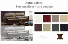 canapé 3 places en cuir italien buffle rivoli, couleurs personnalisées.