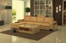canapé d'angle en cuir italien 5 places romana, beige