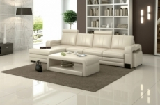 canapé d'angle en cuir italien 5 places romana, blanc