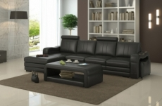 -canapé d'angle en cuir italien 5 places romana, noir