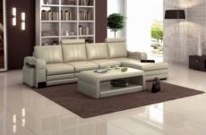 canapé d'angle en cuir italien 5 places romana, gris clair
