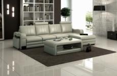 canapé d'angle en cuir italien 5 places romana, gris clair, angle droit
