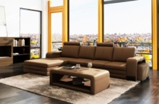 canapé d'angle en cuir italien 5/6 places romario, marron