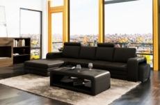 canapé d'angle en cuir italien 5/6 places romario, noir