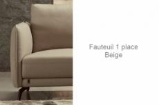 fauteuil 1 place en cuir italien buffle romeo, beige