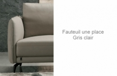 fauteuil 1 place en cuir italien buffle romeo, gris clair