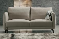canapé 2 places en cuir italien buffle romeo, gris clair