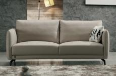 canapé 3 places en cuir italien buffle romeo, gris clair