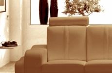canapé 2 places en cuir italien rosso, beige