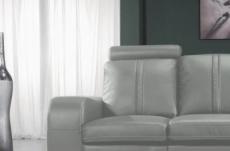 canapé 2 places en cuir italien rosso, gris clair