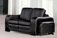 canapé 2 places en cuir italien rosso, noir