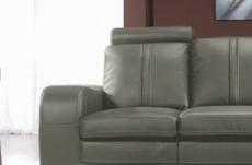 canapé 2 places en cuir italien rosso, gris foncé