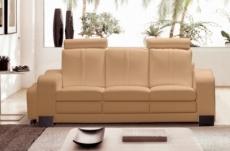canapé 3 places en cuir italien rosso, beige