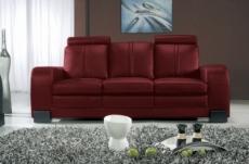canapé 3 places en cuir italien rosso, bordeaux