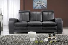canapé 3 places en cuir italien rosso, noir
