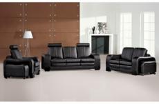 ensemble composé d'un canapé 3 places et d'un canapé 2 places et d'un fauteuil en cuir luxe italien, rosso, noir