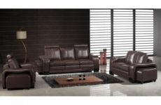 ensemble composé d'un canapé 3 places et d'un canapé 2 places et d'un fauteuil en cuir luxe italien, rosso, chocolat