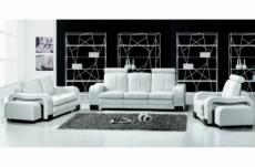 ensemble composé d'un canapé 3 places et d'un canapé 2 places et d'un fauteuil en cuir luxe italien, rosso, blanc