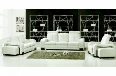 ensemble composé d'un canapé 3 places et d'un canapé 2 places et d'un fauteuil en cuir luxe italien, rosso, écru