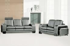 ensemble composé d'un canapé 3 places et d'un canapé 2 places cuir luxe italien, avec un pouf repose pied offert, rosso, gris foncé