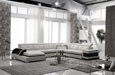 canapé d'angle cuir buffle italien 7/8 places , bellissimo, blanc et noir, angle droit
