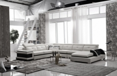 - canapé d'angle cuir buffle italien 7/8 places, bellissimo, blanc et noir, angle gauche