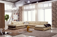 - canapé d'angle cuir buffle italien 7/8 places, bellissimo, beige et chocolat, angle gauche