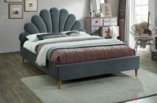 lit double en tissu velours de qualité sania, gris, avec sommier à lattes, 160x200
