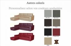canapé d'angle convertible en cuir italien de luxe 5 places santorin, avec coffre, couleur personnalisée, angle gauche