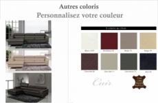 canapé d'angle cuir buffle italien 5 places , sardaigne, couleur personnalisée, angle gauche