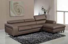 canapé d'angle en cuir buffle italien 5 places , sardaigne, couleur moka, angle droit;