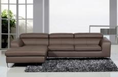 canapé d'angle cuir buffle italien 5 places , sardaigne, couleur moka, angle gauche