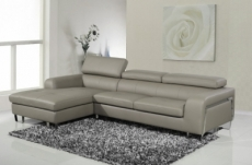 canapé d'angle cuir buffle italien 5 places , sardaigne, couleur gris clair, angle gauche