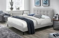 lit double en tissu de qualité sarena, gris clair, avec sommier à lattes, 160x200