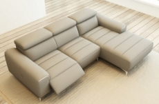 canapé d'angle fonction relax en cuir italien 5 places serenity, gris clair