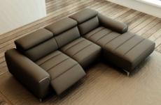 canapé d'angle fonction relax en cuir italien 5 places serenity, gris foncé