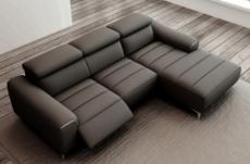 canapé d'angle fonction relax en cuir italien 5 places serenity, noir