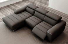 canap dangle fonction relax en cuir italien 5 places serenity noir - Canape Angle Relax