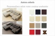 canapé d'angle fonction relax en cuir italien 5 places serenity, personnalisé