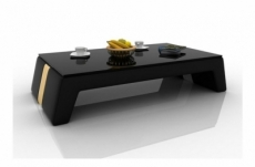table basse design siara, chocolat et beige