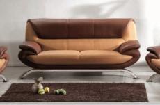 canapé 3 places en cuir italien sicilia, beige et chocolat