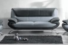 canapé 3 places en cuir italien sicilia, gris clair et gris foncé