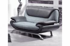 canapé 2 places en cuir italien sicilia, gris clair et gris foncé