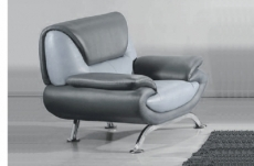 Canapé 3 places en cuir italien sicilia gris clair et gris foncé