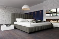 lit design en cuir italien de luxe silver, gris foncé, 160x200