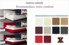 lit design en cuir italien de luxe silver, couleur personnalisée, 140x190