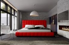 lit design en cuir italien de luxe silver, couleur rouge, 160x200